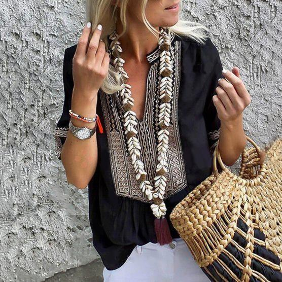Fashion Sleeve Loose Embroidered T-Shirt
