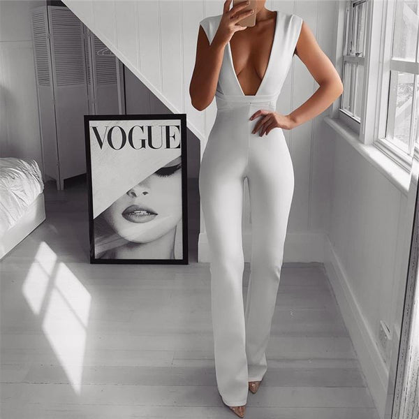 Sexy Deep V Collar Sleeveless Solid Color Jumpsuits
