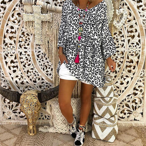 Casual V Neck Leopard Print Loose Printed Colour Dress