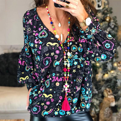 Boho V Neck Printed Colour Long Sleeve Top