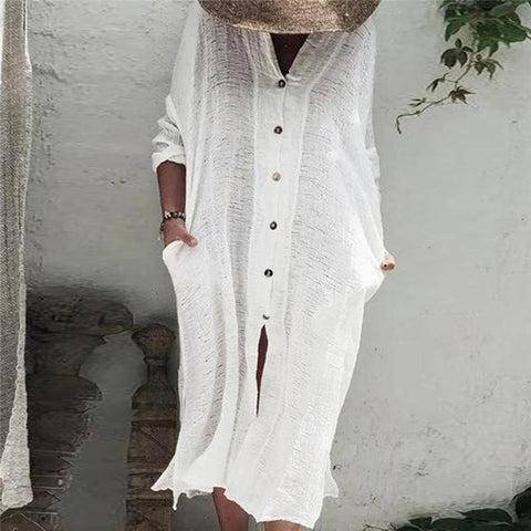 Women's V-Neck Long-Sleeved Solid Color Button Dress