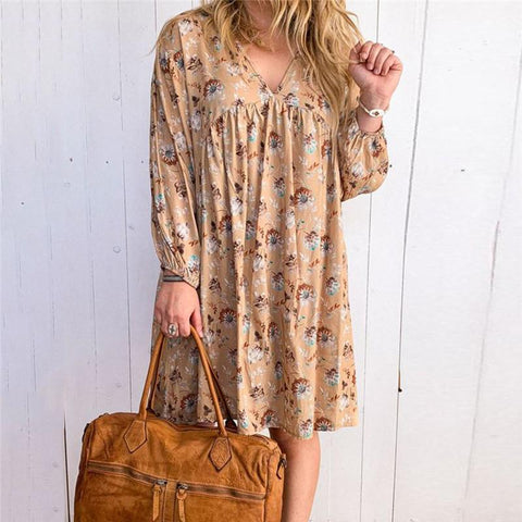 Women's V-Neck Print Long Sleeve Dress
