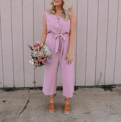 Elegant V Neck Single-Breasted Belted Pure Colour High-Waist Jumpsuit