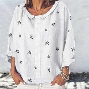 Casual Small Square Collar Print Blouse