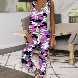 Camouflage Printed Skull One-Pieces Jumpsuits