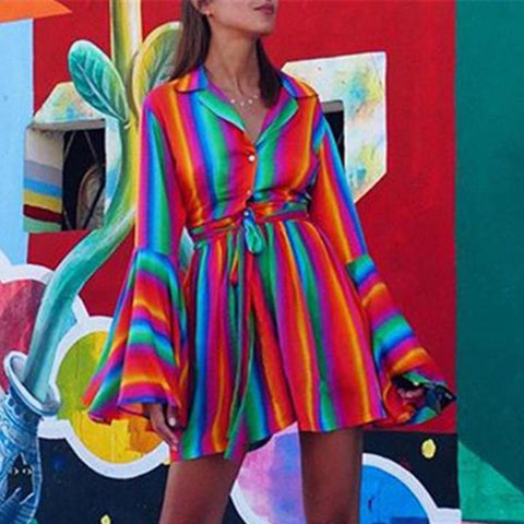 Stylish Color Striped Verticfasgional Lapel Trumpet Sleeve Dresses