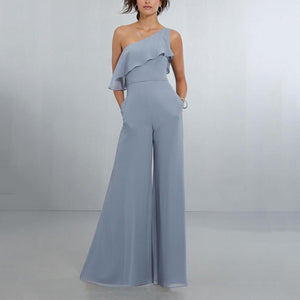 Elegant Ruffled High-Waist Sloping Shoulder Pure Colour Jumpsuit