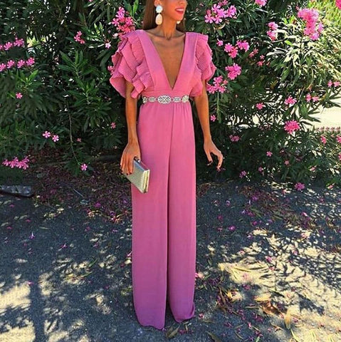 Elegant V Neck High-Waist Ruffled Pure Colour Belted Suit