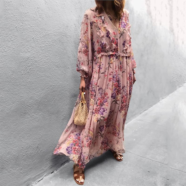 Women's Floral Print V-Neck Long Sleeve Dress