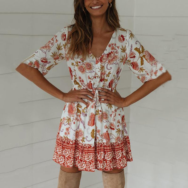 Bohemian V Neck Floral Pattern Middle Sleeve Dress