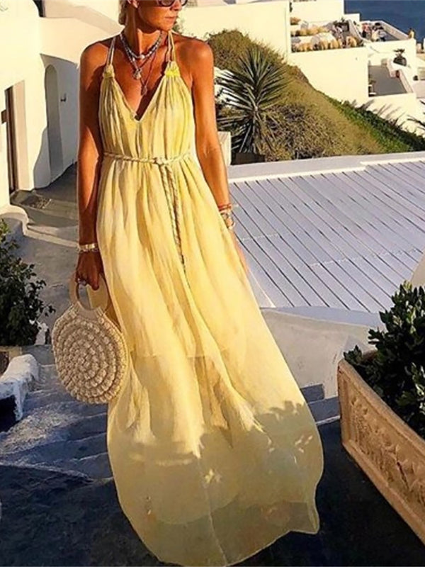 Women's V-Neck Sleeveless Chiffon Yellow Dress