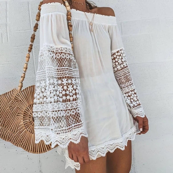Cute Boat Neck Long Sleeve Off-Shoulder Dress