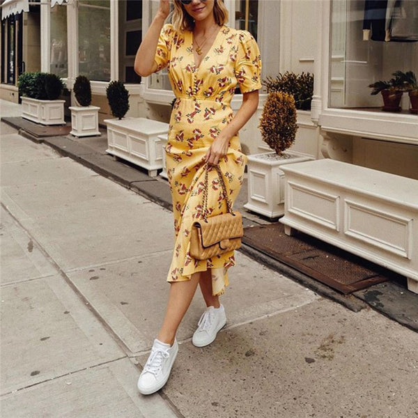 Women's V-Neck Lantern Sleeve Floral Yellow Dress