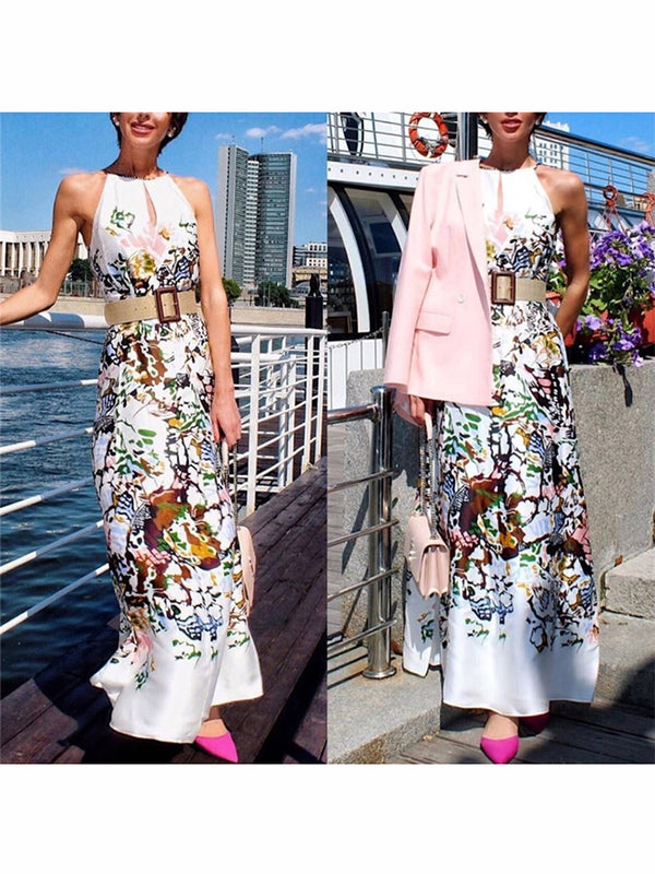 Women's Print Sleeveless Long Dress