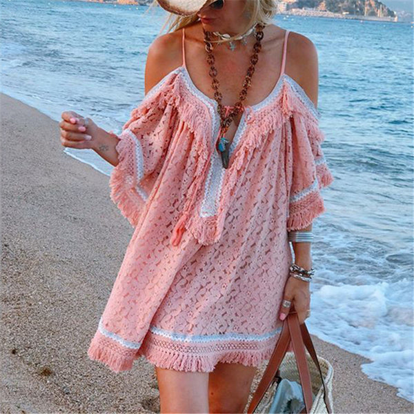 Fashion Lace Panel Cutout Off-Shoulder Fringe Dresses