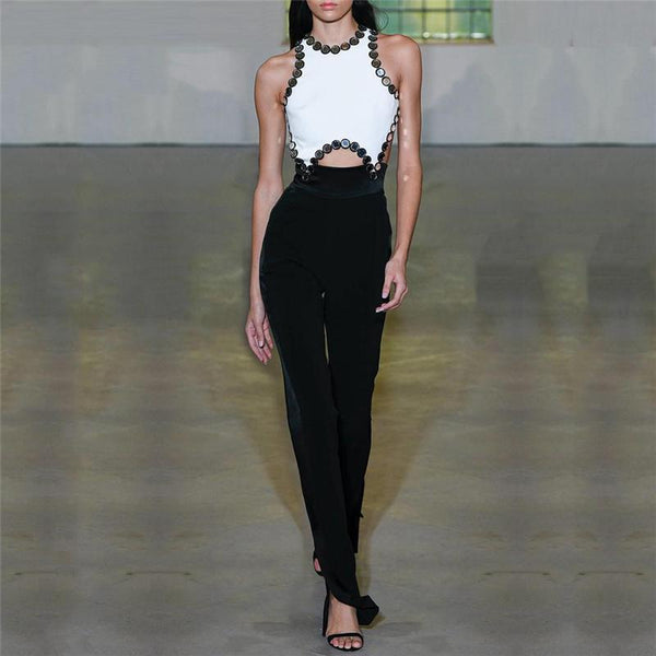 Women's Black And White Sleeveless Jumpsuit