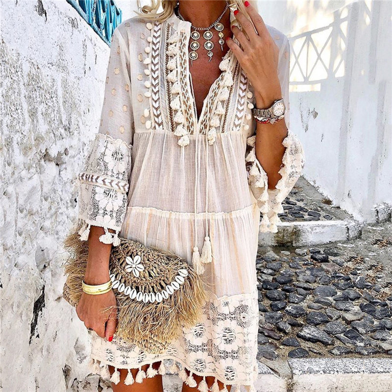 Bohofancy Women's V-Neck Lace Fringe Casual Dress