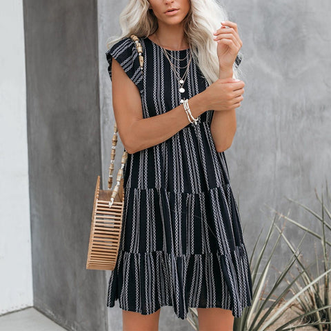 Casual Striped Round Collar Dress