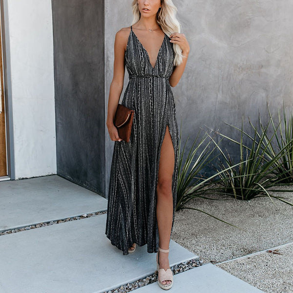 Deep V Sexy Open Shoulder High Forked Sling Dress