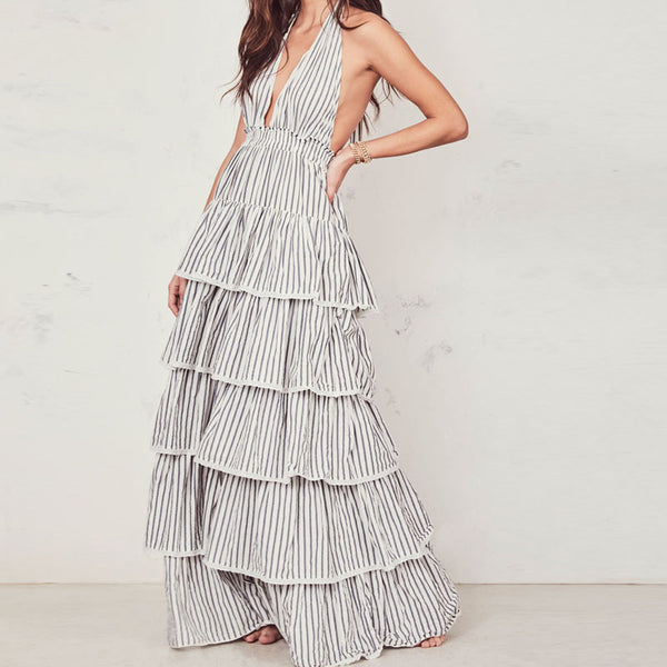Sling Pleated Striped Dress