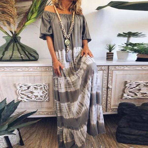Casual Tie Dye Off-Shoulder Dress