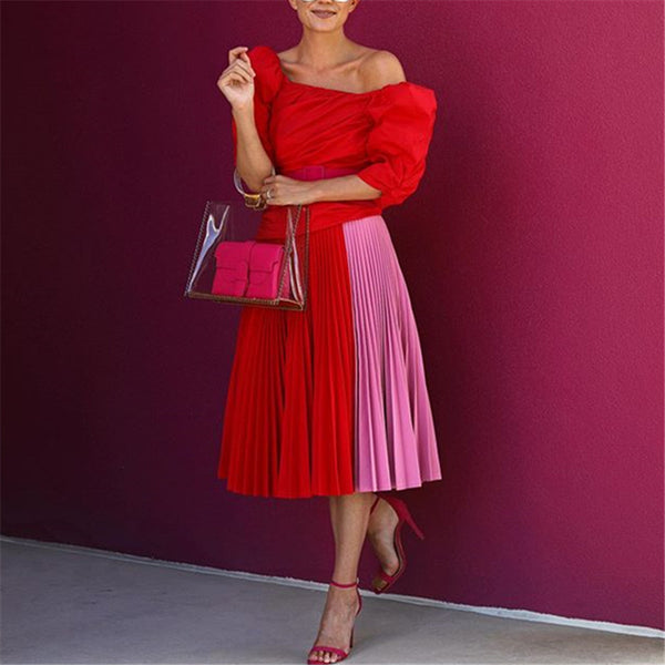 Women's Off-The-Shoulder Stitching Pleated Two-Piece Dress