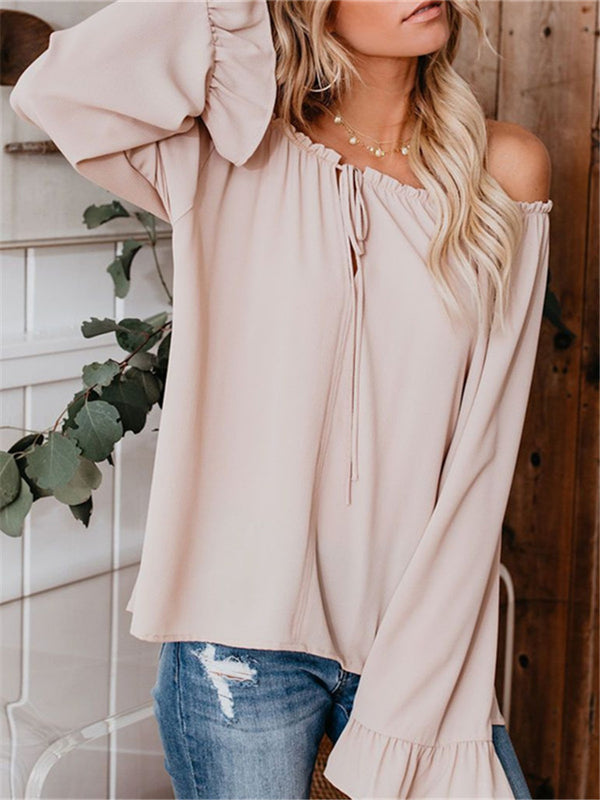 Casual Fashion One-neck Ruffled Long-sleeved Loose T-shirts