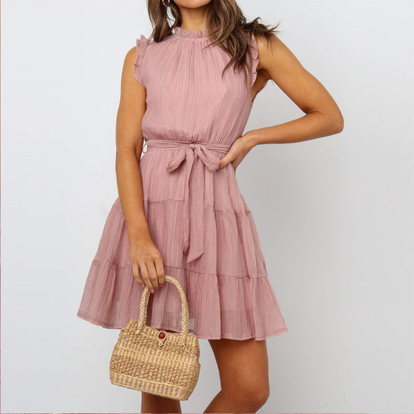 Casual Fashion Stand Collar Ruffled Sleeveless Slim Dresses