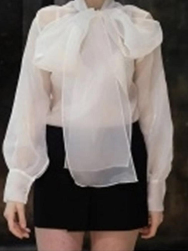 Fashion Translucent Solid Color Bow Tie Blouse