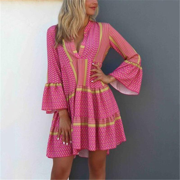 Bohemian V-Neck Flared Sleeve Casual Mini Dress