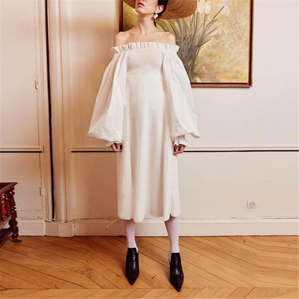 Smocked Off Shoulder Puff Sleeve Dress