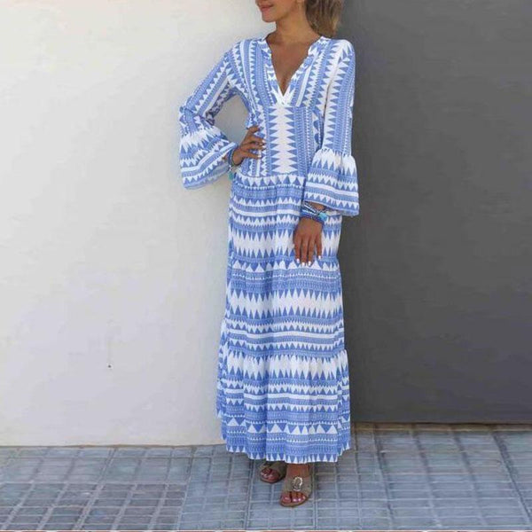 Fashion V-Neck Striped Print Dress