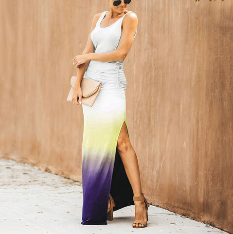 Glamorous Sleeveless Gradient Print Ruched Dress