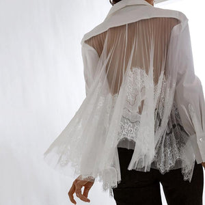 Women's Sexy Lace Stitching Perspective Shirt