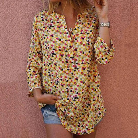 Casual V Neck Floral Pattern Blouse