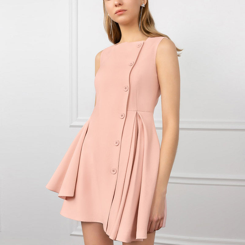Pure Color Sleeveless Single Buckle Irregular Dress