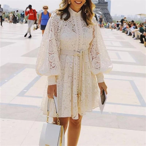 Elegant Fashion Stand-Up Lace Long-Sleeved Dresses
