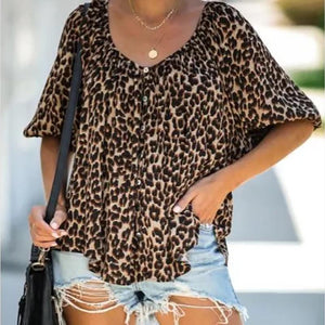 Women's Fashion Leopard Print Loose Top