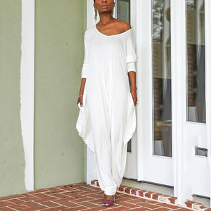 Casual Bare Back Plain Irregular Loose Jumpsuits