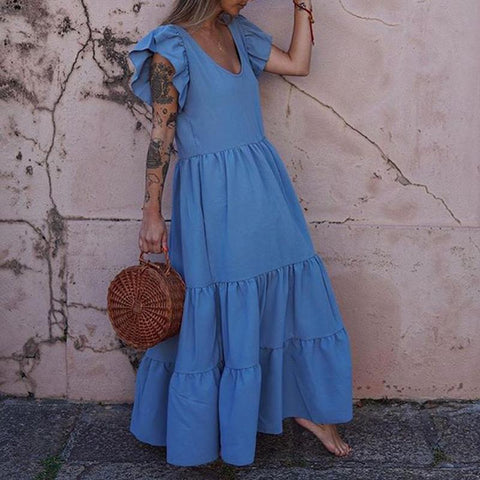 Casual V-Neck Solid Color Dress