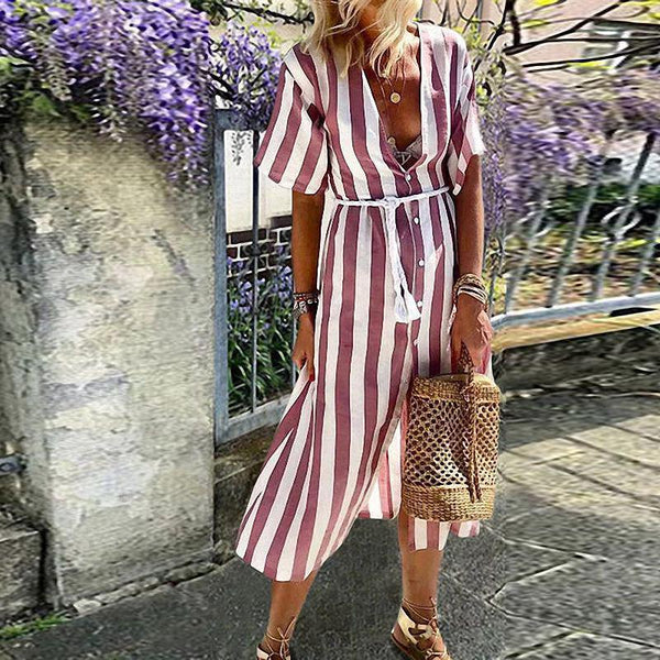 Casual V Neck Striped Short Sleeve Single-Breasted Dress