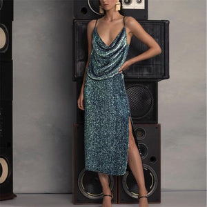 Women's Deep V-Neck Sling Sequin Dress