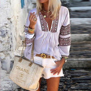Fashion Deep V Ethnic Print T-Shirt