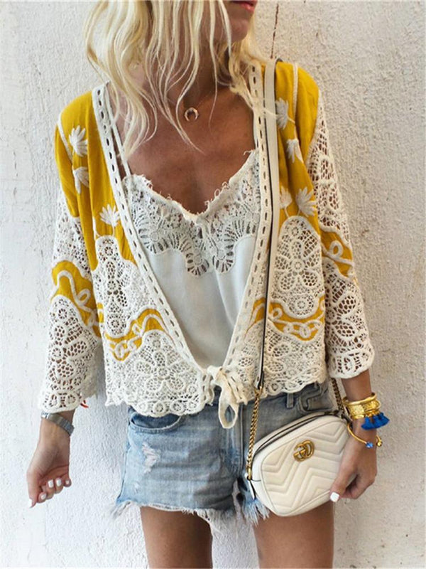 Fashion Openwork Lace V-Neck Long Sleeve Shirts