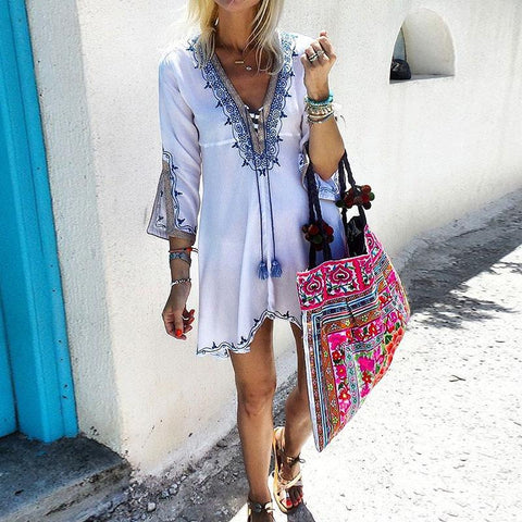 Fashion V-Neck Ethnic Print Dress