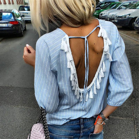 Fashion Sexy Halter Fringe Striped Long Sleeve Shirts