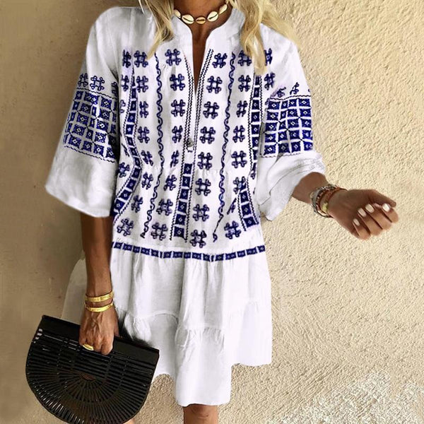 Bohemian Print Loose Vacation Casual Mini Dress