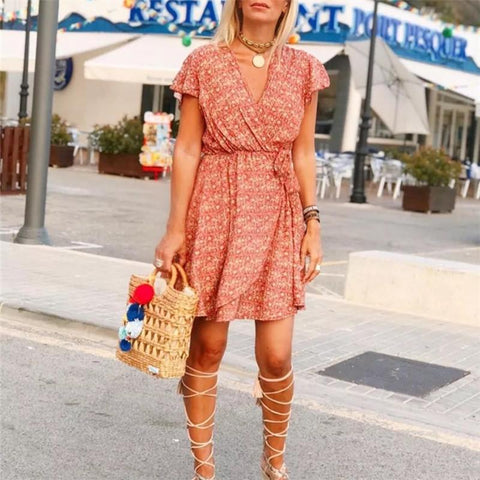 Printed Lace-Up Short-Sleeved Skater Dresses