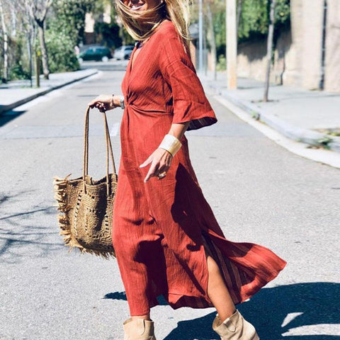Commuting V Neck Bell Sleeve Pure Colour Splicing Side Slit Dress