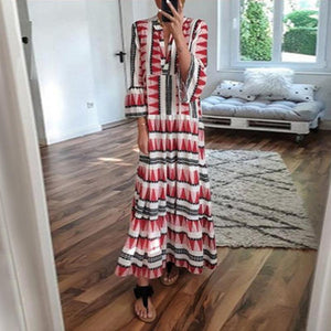Casual Printed Color Long Sleeve  Cotton Dress